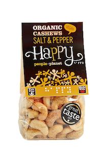 Organic Cashews Salt & Pepper 100gr bag