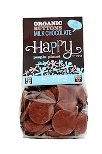 Organic Buttons Milk Chocolate 150gr bag