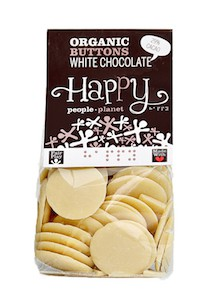 Organic Buttons White Chocolate 150gr bag
