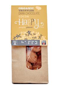 ORGANIC DARK CHOCOLATE TRUFFLE WITH COCOA POWDER HAPPY PEOPLE PLANET