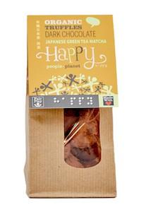 ORGANIC DARK CHOCOLATE TRUFFLE WITH JAPANESE GREEN TEA MATCHA HAPPY PEOPLE PLANET
