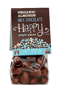 Organic Almonds Milk Chocolate 120gr bag - white