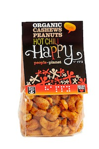 Organic Cashews & Peanuts Hot Chilli 100gr bag